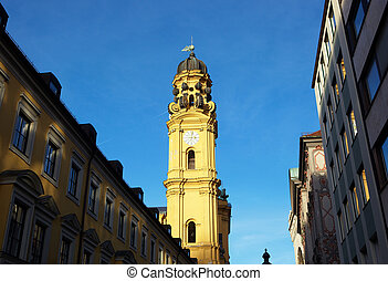 FrauenKirche - The clock towers of FrauenKirche in Munich,...