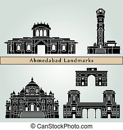Ahmedabad landmarks and monuments isolated on blue...