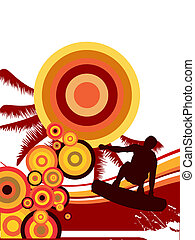 summer sports - vector illustration of a wakeboarder...