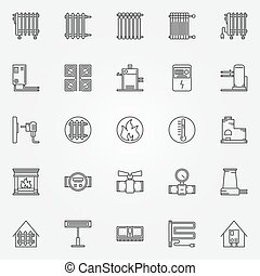 Home heating icons set - vector collection of outline...
