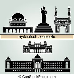 Hyderabad landmarks and monuments isolated on blue...