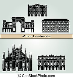 Milan landmarks and monuments isolated on blue background in...