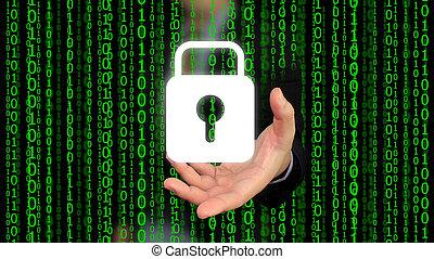 concept, sécurité, Sécurité, mondiale, système, numérique