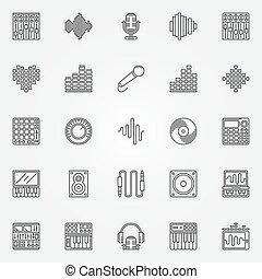 Recording studio icons set