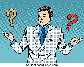 Questions businessman misunderstanding pop art retro style