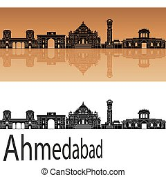 Ahmedabad skyline in orange background in editable vector...