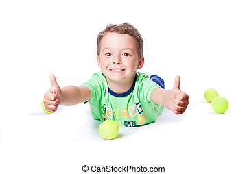 boy catches the ball on a white background