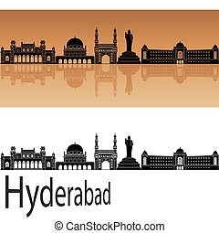 Hyderabad skyline in orange background in editable vector...