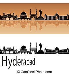 Hyderabad skyline in orange background in editable vector...