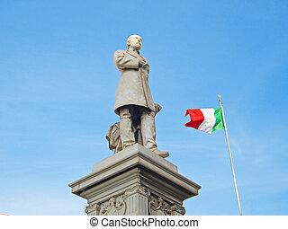 Giuseppe Mazzini Monument with Italian flag - This is a...