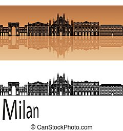 Milan v2 skyline - Milan skyline in orange background in...