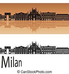 Milan v2 skyline - Milan skyline in orange background in...