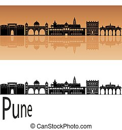 Pune skyline in orange background in editable vector file