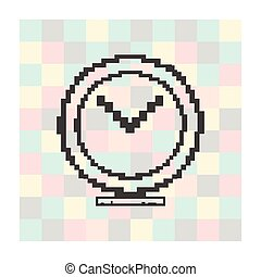 pixel icon clock on a square background - pixel icon...