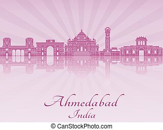 Ahmedabad skyline in purple radiant orchideps - Ahmedabad...