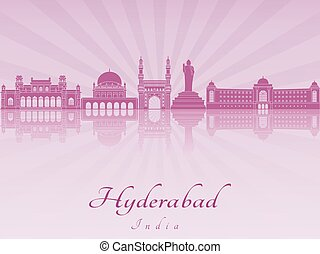 Hyderabad skyline in purple radiant orchid in editable...