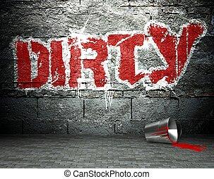 Graffiti wall with dirty, street background - Graffiti wall...