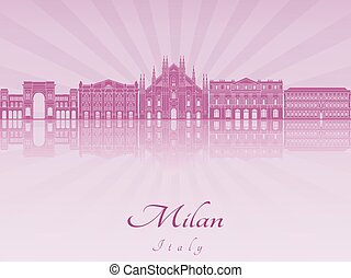Milan skyline in purple radiant orchid in editable vector...