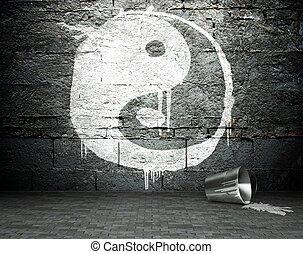 Graffiti wall with yin yang, street background - Graffiti...
