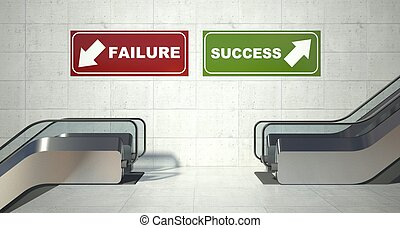 Moving escalator stairs, success failure sign - Moving...