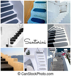 Travel photo collage with detail of greek old steps,...