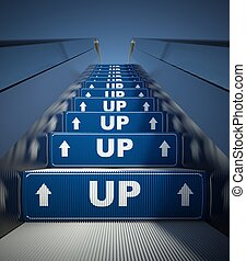 Moving escalator stairs, up sign concept