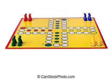 diferente, coloreado, él, Peones, juego, tabla