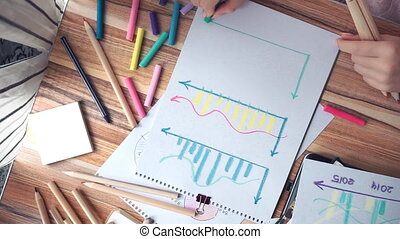 Woman drawing different business math graphs: diagram,...
