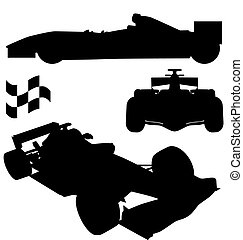 formula 1 silhouettes - racing car silhouettes with high...