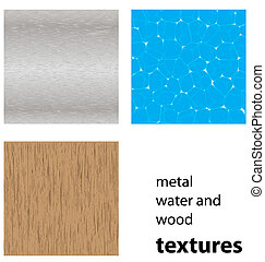 water,wood and steel textures