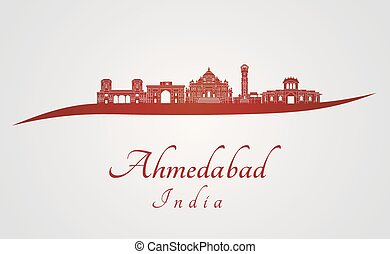 Ahmedabad skyline in red and gray background in editable...