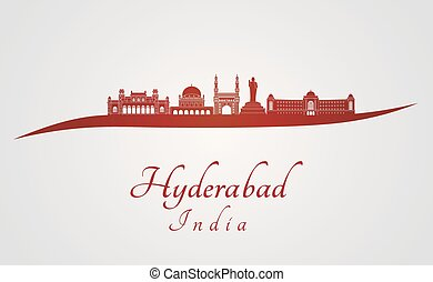 Hyderabad skyline in red and gray background in editable...