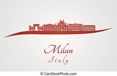 Milan skyline in red and gray background in editable vector...