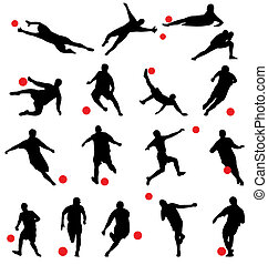 football silhouettes collection - many football players with...