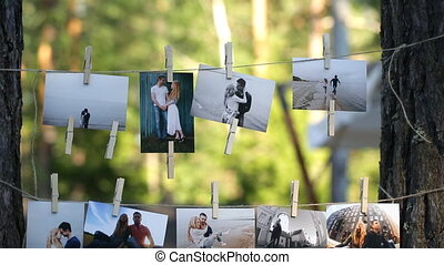collage of nine wedding photos - printed pictures of the...
