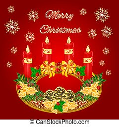 Merry Christmas circular Advent wreath with pinecones...
