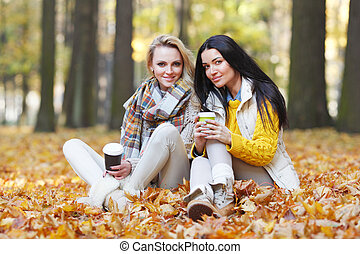 Friends with coffee in park - Two female friends with take...
