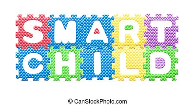 Colored letters, Smart child motto for children Isolated on...