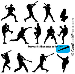 baseball silhouettes collection - set of baseball player...