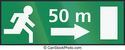 Dutch sign - Emergency exit 50 metres to the right