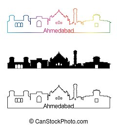 Ahmedabad skyline linear style with rainbow in editable...
