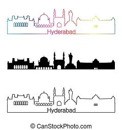 Hyderabad skyline linear style with rainbow in editable...