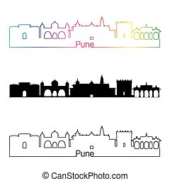 Pune skyline linear style with rainbow in editable vector...