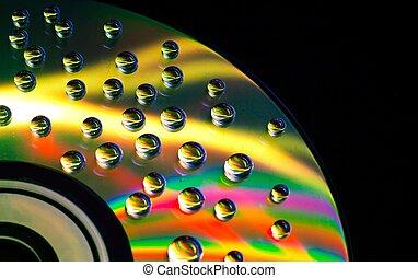 cd/dvd, abstrakt, Vatten, bakgrund, musik, droppar