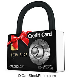 3d credit card security with red bow - 3d credit card...
