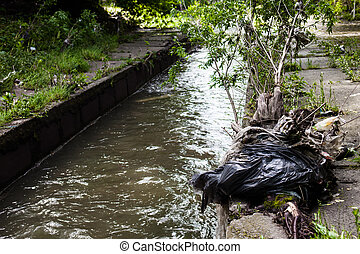 Water pollution. Garbage on the urban stream banks