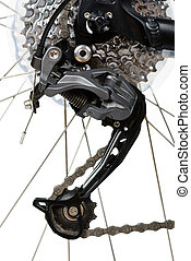 Closeup of rear derailleur of MTB