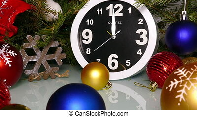 Clock and christmas balls and toys, zoom in - Clock and...