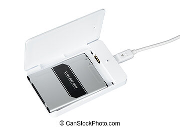 smartphone battery charger - opened white smartphone battery...