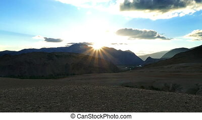 beautiful sunset in Altai mountains